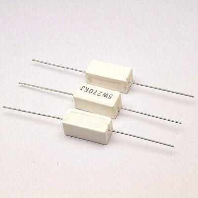 10pcs Wirewound Cement Resistor Ceramic Resistance 5W horizontal 0.1ohm -100Kohm 3