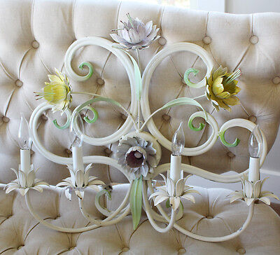 Antique Italian Painted Tole Wall Sconce Floral 3
