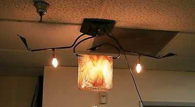 Modern Handmade Wrought Iron Ceiling Lamp&folding Signed Glass Europe Post 1940 4