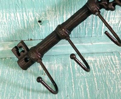 Chamber Skeleton Key Hook Cast Iron Wall Mount Rustic Old Fashioned Vintage New 5