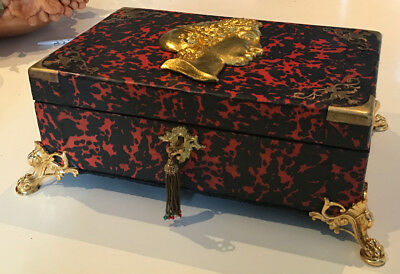 Antique French Ormolu Red Tortoise Shell Boulle  Writing Box Slope 4