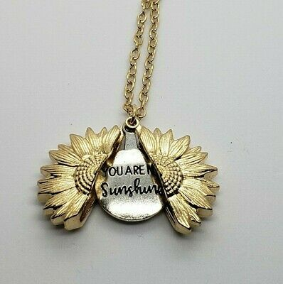 """You Are My Sunshine"" Sunflower Open Locket Pendant Womans Necklace Jewelry Gift 6"