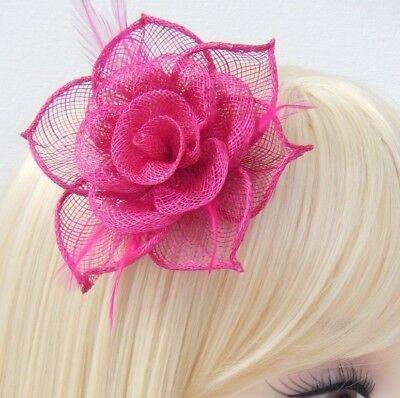 Fuchsia Pink Fascinator Brooch Clip Hair Feather Flower Wedding Ladies Day Races 11