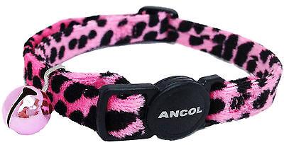 Ancol Velvet Leopard Print Cat Collar Pink 3