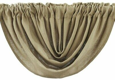 """Burlap Natural Tan 100% Cotton Rustic Country Window Balloon Valance 60"""" W 4"""