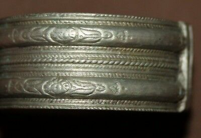 Antique Greek Folk Silver Hinged Bracelet