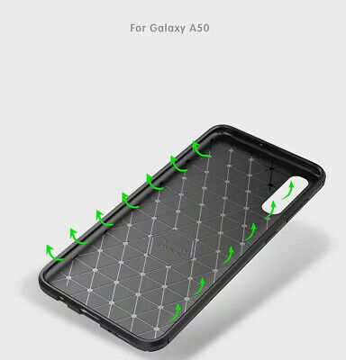 For Samsung Galaxy A30 A50 Matte Frosted Protective TPU Back Cover Carbon Case 10