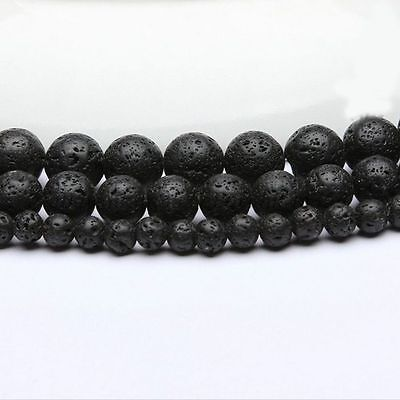 "Natural Black Volcanic Lava Stone Round Beads 15.5""4 6 8 10 12 14mm Pick Size 9"