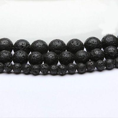 Natural Stone Beads Black Lava Rock Round Jewelry Making Gemstone Strand