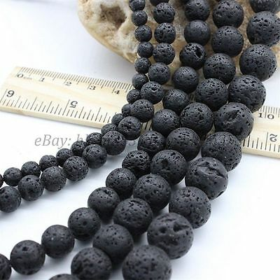 "Natural Black Lava Beads Round Volcanic Rock Gemstone 15"" 4 6 8 10 12 14mm Lot 4"