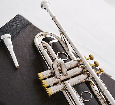Professional JINBAO Silver nickel Bb Trumpet Horn Monel Free 2Mouth Leather Case