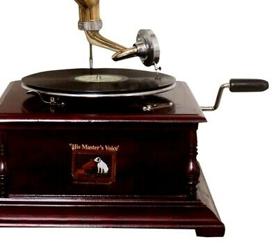 Replica Gramophone Player 78 rpm phonograph Brass Horn HMV Vintage Wind Up 2