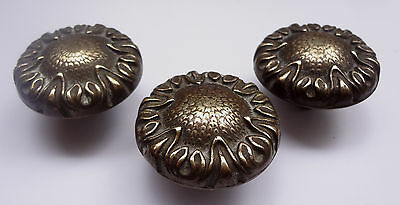 Lot 3 Vintage Solid Brass Pull handles Knobs 1 3/4'' + Backplates  Free Shipping 4