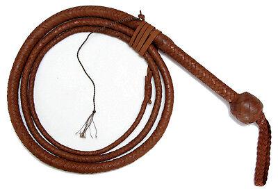 Indiana Jones Style Professional 8 Foot 12 Plait Brandy Kangaroo Hide Bullwhip