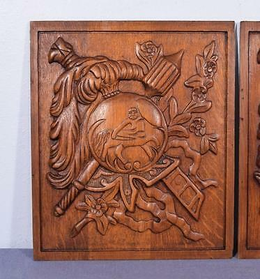 *Pair of Vintage French Carved Solid Oak Panels Arts Themed with Centaur 3 5