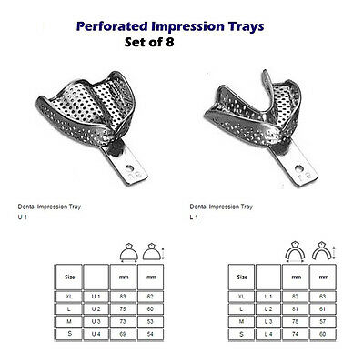Perforated Impression tray set of 10 cubetas de impresion dental metal 2