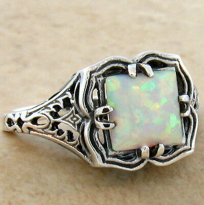 Victorian White Lab Opal 925 Sterling Silver Antique Style Ring Sz 10,#721 2