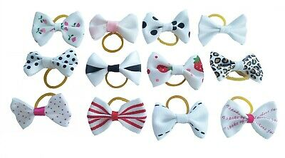 20Pc Mixed Hair Bows W/Rubber Bands For Small Dog Cat Grooming Bowknot Accessory 11