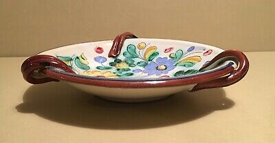 Stunning Antique / Vintage Hand Crafted & Painted Italian Centerpiece Dish 25 cm 4
