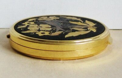 Vintage Russian Metal Powder Box With Mirror Etched Flowers & Bird Gold Tone 6
