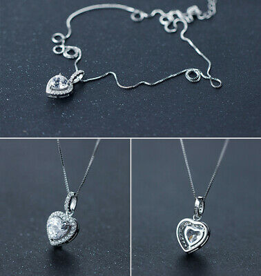 Heart Crystal Stone Pendant Necklace 925 Sterling Silver Chain Womens Jewellery 3