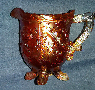 Sowerby Vintage Retro Footed Orange Carnival Glass Milk Cream Jug  Holly Thistle 5