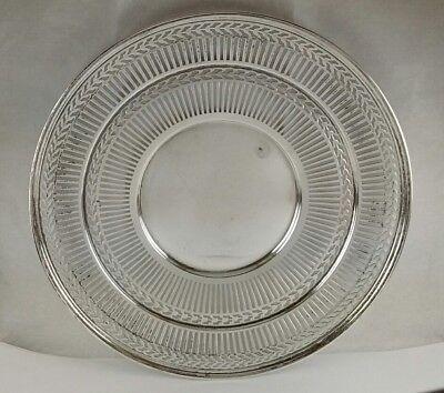 "Antique RARE Sterling Silver Watson Co. Wilcox & Wagoner Pierced 8"" Round Plate 4"