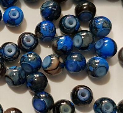 15 perles semi-précieuses gemmes AGATES DRAGON BLEU NUIT ET MARRON 6mm //5 2