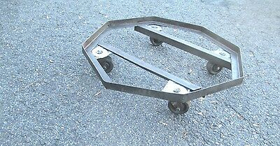 rare PLANT STAND on wheels MODERN octagon dolly STEM PUNK old MID CENTURY 2