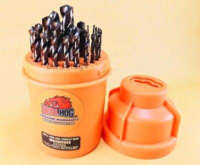 29 Pc Super Premium Cobalt M42+ Drill Bit Set lndex Lifetime Warranty Drill Hog 2