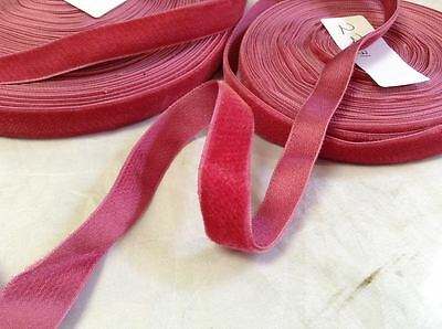 "10 Yards 5/8"" HANK FRENCH Vintage Silk Rayon Satin Back Velvet Ribbon Coral Red"