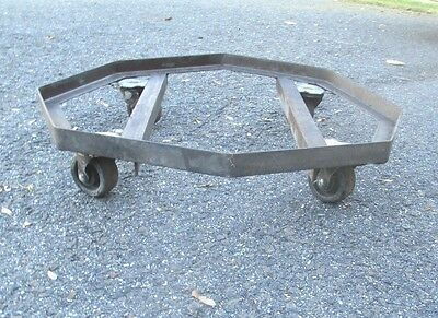 rare PLANT STAND on wheels MODERN octagon dolly STEM PUNK old MID CENTURY 6