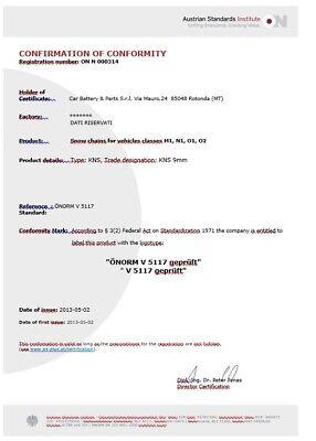 CATENE DA NEVE OMOLOGATE  9 mm  GRUPPO 60 PNEUMATICI 175/65/15