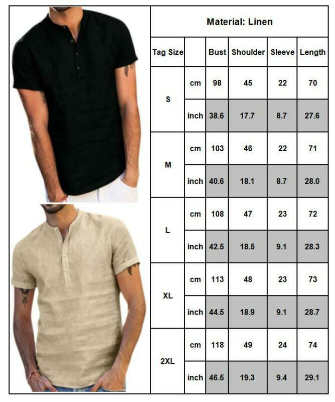 Mens Standing Collar Short Sleeve Soft Solid Tops Summer Beach Holiday T Shirts 2
