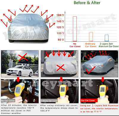 Aluminum waterproof Double thicker n car cover rain resistant UV dust car cover 2