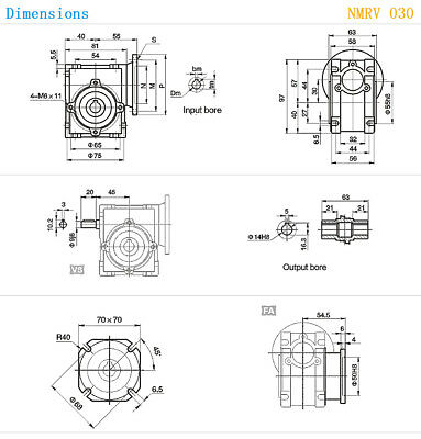 NEMA23-030 Worm Gear Speed Reducer NEMA23 Ratio 10 25 30 40 50:1 Stepper motor 6