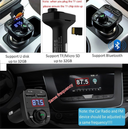 Bluetooth In-Car Wireless FM Transmitter MP3 Radio Adapter Car Dual USB Charger 7