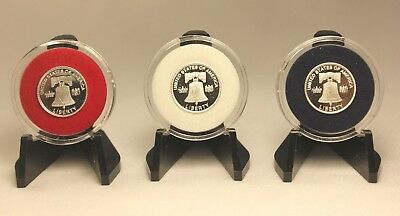 TCD Red Coin Holder Capsule 1 One Gram Silver Gold Bar /& Black Display Stand
