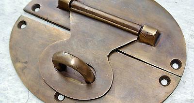"large heavy HASP & STAPLE 5"" across OVAL catch latch box door solid brass B 2"
