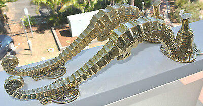 """2 small SEAHORSE solid brass door NATURAL old style house PULL handle 10"""" PAIR B 7"""