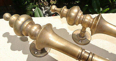"""4 large DOOR handle pulls solid SPUN hollow  brass vintage aged old style 12 """"B 6"""