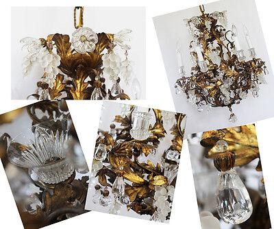 Rare Art Glass Maison Bagues Incredible Antique Murano Gold Gilt Chandelier 3