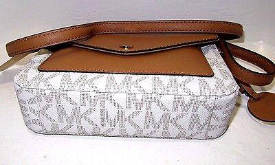 f144363f3d2ed4 ... Michael Kors Greenwich Small Flap Crossbody Vanilla PVC Signature Acorn  Leather 5