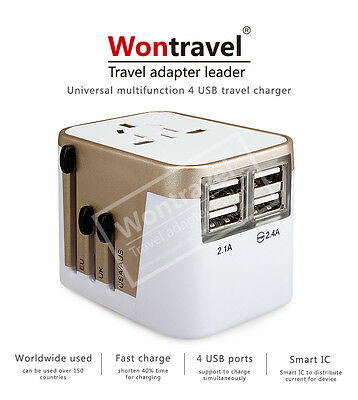 Universal Travel Adapter  USB Wall AC Power 240v 110v for AU EUROPE USA UK 4 USB 5