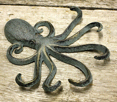 2 Heavy Cast Iron Octopus Towel Hanger Coat Hooks Hat Hook, Key Rack Nautical 3