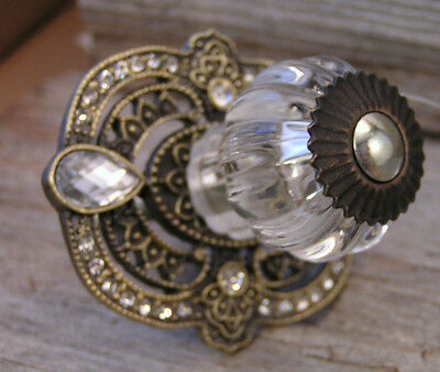 New Classy Victorian Palace Glass Rhinestone Metal Drawer  Pull knob handle 5