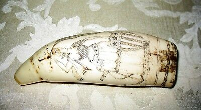 Engraving Scrimshaw Whale Tooth for Display Imitation Replica #3