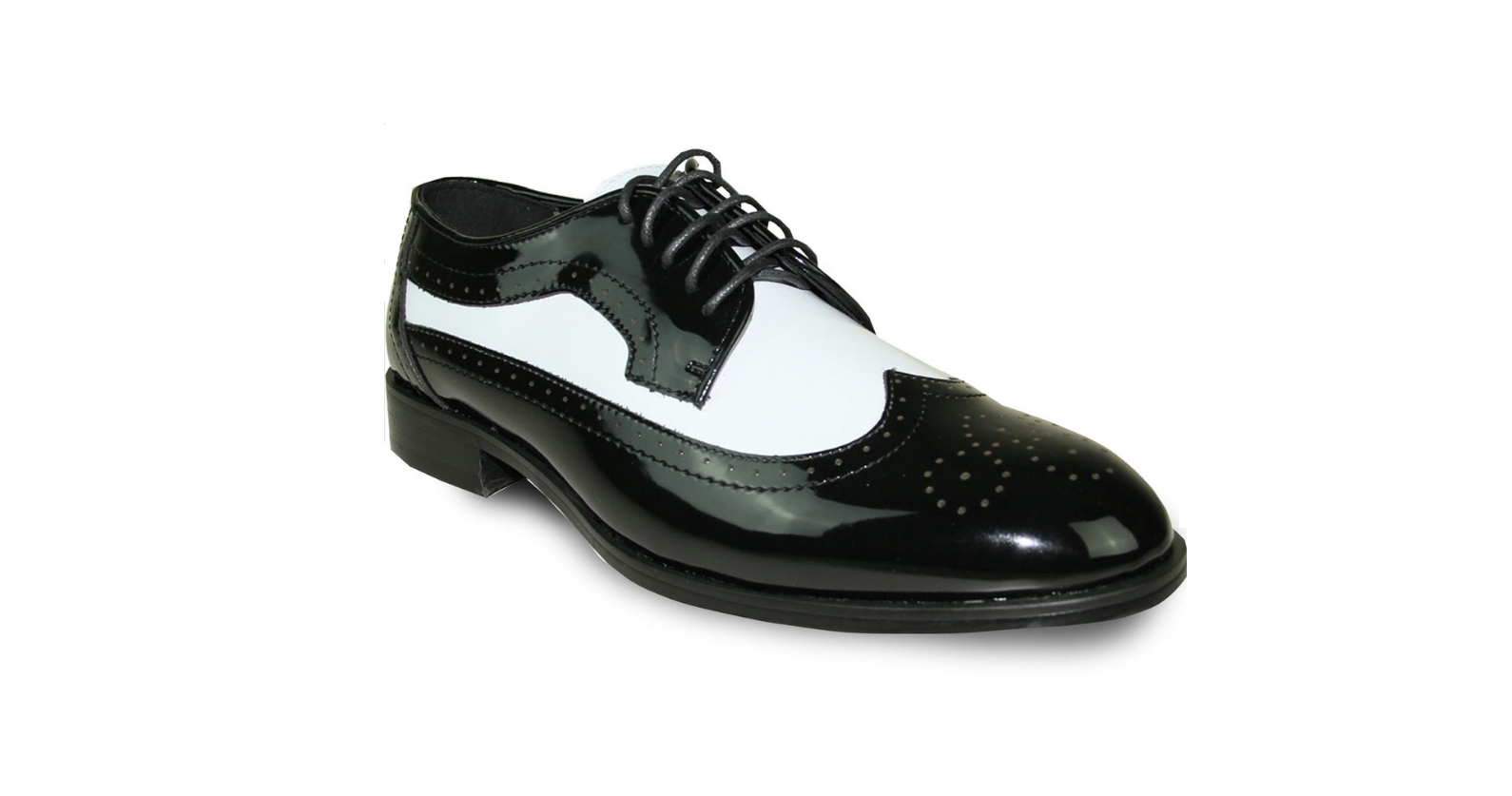 Mens Two-Tone Black White Wing Tip Oxford Dress Shoes Lace Up Zoot TUXXMAN