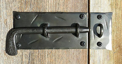 HAND FORGED SLIDE BOLT DOOR LATCH Cabinet Gate Shed Antique Wrought Iron Lock 2