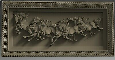 3D STL Model # HORSES IN MOTION # for CNC Aspire Carving 3D Printer Engraving 2